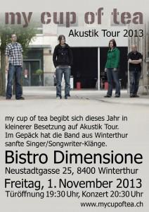 Flyer zum Konzert im Dimensione, Winterthur vom 1. November  2013