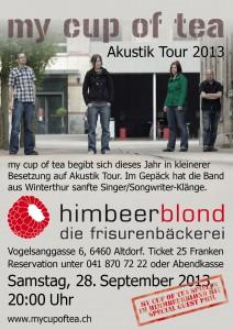 Flyer zum Konzert im Himbeerblond Altdorf vom 29.September 2013